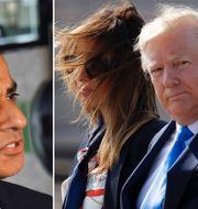 Sadig Khan samt Melania och Donald Trump. TT.