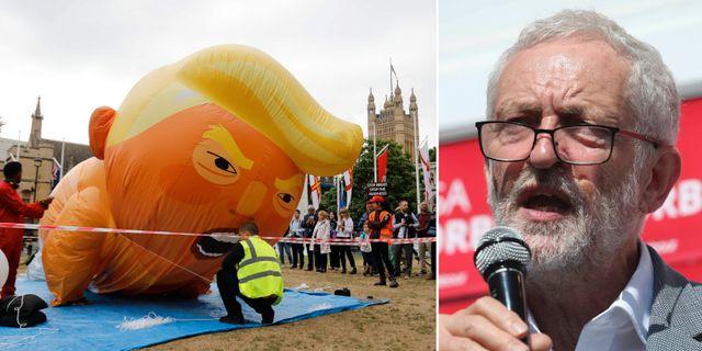 Jeremy Corbyn och en ballong föreställande Trump.  TT.