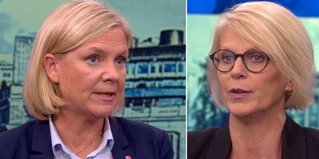 Magdalena Andersson och Elisabeth Svantesson i Aktuellt. SVT
