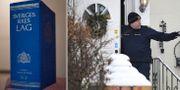 Polis utanför villan i samband med att de tre döda männen hittades. Emil Langvad/TT / TT NYHETSBYRÅN