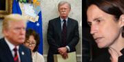 Donald Trump, John Bolton och Fiona Hill. TT