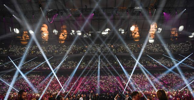 Melodifestivalens publik under finalen förra året.  Pontus Lundahl/TT / TT NYHETSBYRÅN