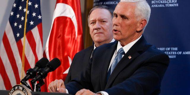 USA:s utrikesminister Mike Pompeo och vicepresidenten Mike Pence i Ankara idag. Jacquelyn Martin / TT NYHETSBYRÅN