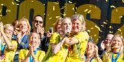 Landslaget i fotboll firar bronset.  Jonas Lindstedt/TT / TT NYHETSBYRÅN