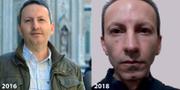 Bilder som visar hur Djalalis utseende har förändrats i fängelset. Amnesty har publicerat bilden på Ahmadreza Djalali.