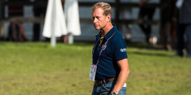 Rolf-Göran Bengtsson finns med som support för de svenska ryttarna vid hopptävlingarna i ryttar EM i Aachen, Tyskland Pontus Lundahl/TT / TT NYHETSBYRÅN