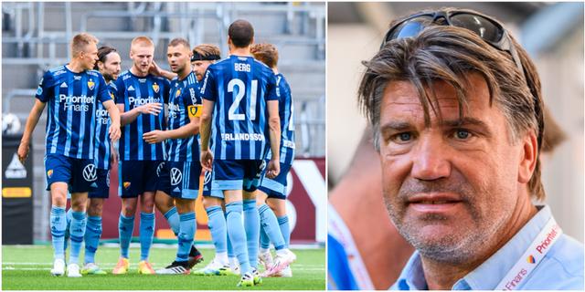 Djurgården jublar efter ett av Kalle Holmbergs mål mot Häcken den 1 augusti / Sportchef Bosse Andersson. Bildbyrån