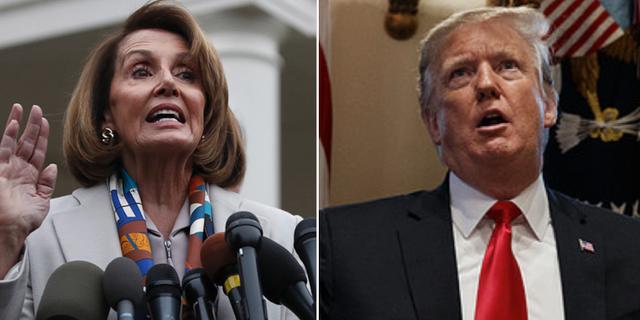 Demokraternas tillträdande talman i representanthuset Nancy Pelosi och Donald Trump.  TT