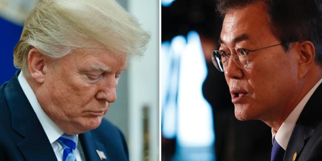 Donald Trump samt Moon Jae-In. TT Nyhetsbyrån