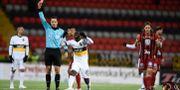 AIK:s Enock Kofi Adu utvisas. Erik Simander/TT / TT NYHETSBYRÅN