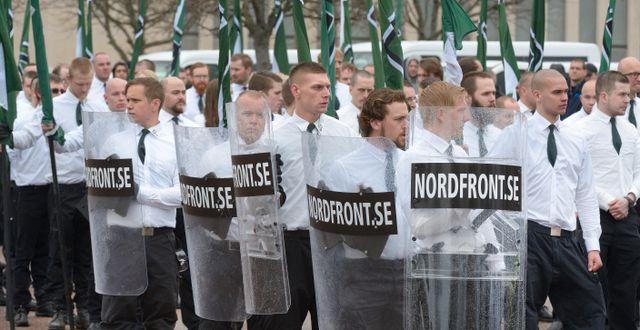 Arkivbild, Nordfront-anhängare i Borlänge.  Ulf Palm/TT / TT NYHETSBYRÅN