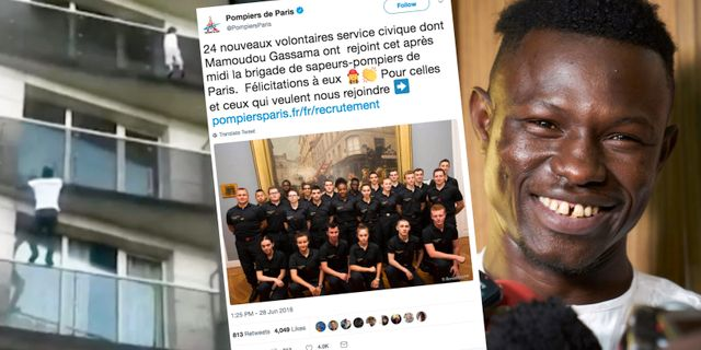Mamoudou Gassama filmades under den spektakulära räddningen. Brandkåren presenterar sina nya rekryter på Twitter. TT/Twitter