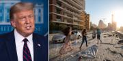 Donald Trump/Människor springer efter explosionerna i Beirut.  TT