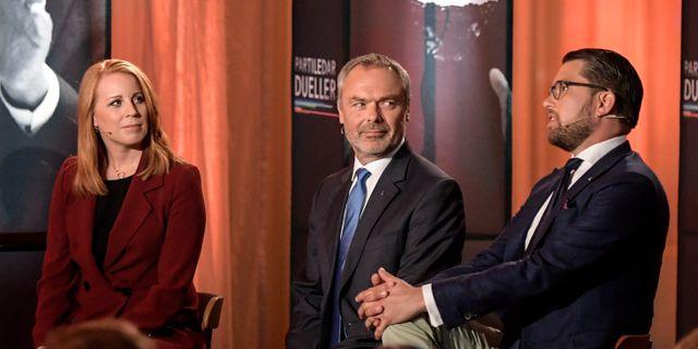 Annie Lööf, Jan Björklund och Jimmie Åkesson.  Anders Wiklund/TT / TT NYHETSBYRÅN