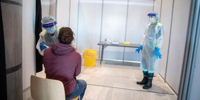Testning på Bergens flygplats. Eivind Senneset / TT NYHETSBYRÅN