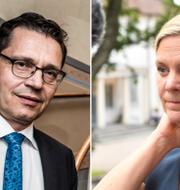Hans Lindberg, vd för Bankföreningen och finansminister Magdalena Andersson (S).  TT