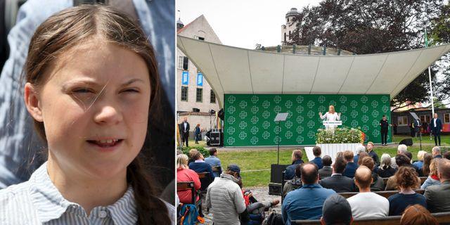 Greta Thunberg/Annie Lööf i Almedalen.  TT.
