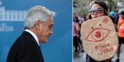 Sebastián Piñera (t v), demonstrant med protestskylt som kräver presidentens avgång (t h).  TT