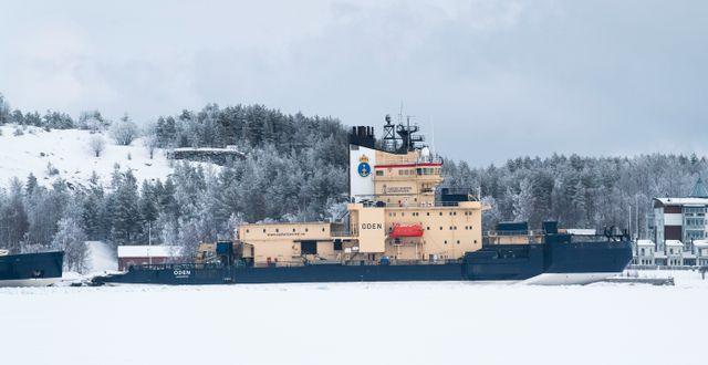 Sjöfartsverkets isbrytare Oden vid kaj i hamnen i Luleå. Pontus Lundahl/TT / TT NYHETSBYRÅN
