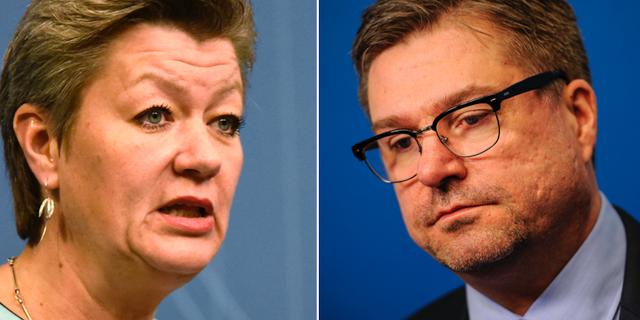Arbetsmarknadsminister Ylva Johansson, Arbetsförmedlingens generaldirektör Mikael Sjöberg. TT