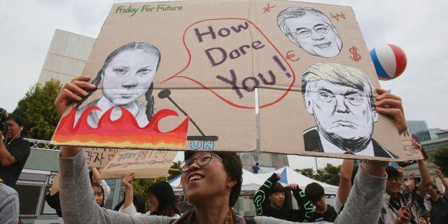 Klimatprotester i Sydkorea i september. Ahn Young-joon / TT NYHETSBYRÅN