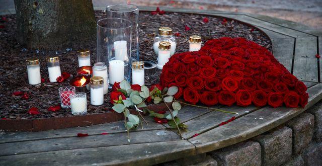 Ljus och blommor i Vetlanda.  Thomas Johansson/TT / TT NYHETSBYRÅN