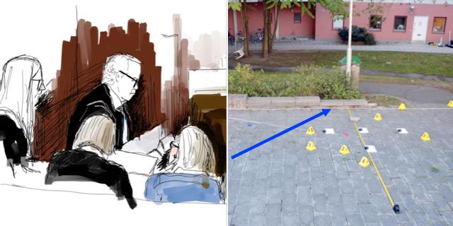 Teckning från rättegången samt bild från förundersökning.  TT /Polisens förundersökning
