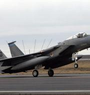Arkivbild. Ett F15-plan landar på Island. KIRSTY WIGGLESWORTH / TT NYHETSBYRÅN