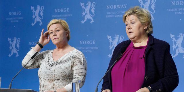 Siv Jensen och Erna Solberg. NTB SCANPIX / TT NYHETSBYRÅN