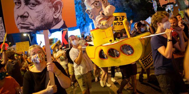 Demostranter i Israel.  Oded Balilty / TT NYHETSBYRÅN