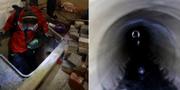 En demonstrant försöker fly genom en avloppstunnel. TT