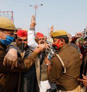 Bild från protesten idag. Rajesh Kumar Singh / TT NYHETSBYRÅN