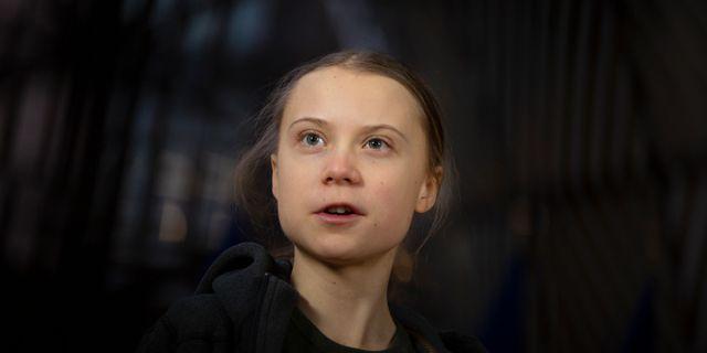 Greta Thunberg i Bryssel. Virginia Mayo / TT NYHETSBYRÅN