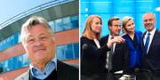 Dan Olofsson till vänster, Alliansens partiledare till höger Wikimedia/TT