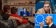 Statsminister Stefan Löfven, Danmarks statsminister Mette Frederiksen och EU:s Charles Michel. TT