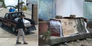 En kista inlindad i plast kör iväg / En annan kista ligger övergiven utanför ett flerfamiljshus i Guayaquil TT