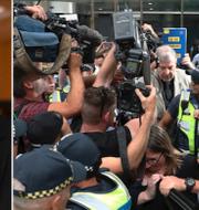 Den australiska kardinalen George Pell möter pressen. TT