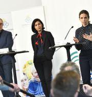 Sara Byfors, enhetschef Folkhälsomyndigheten (längst till höger).  Claudio Bresciani/TT / TT NYHETSBYRÅN
