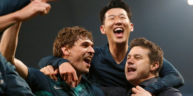 Fernando Llorente, Son Heung-min och Mauricio Pochettino firar avancemanget.  ANDREW YATES / BILDBYRÅN