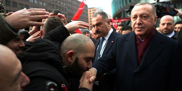 Erdogan anländer till fredskonferensen i Berlin idag- MURAT CETINMUHURDAR/PPO / TT NYHETSBYRÅN