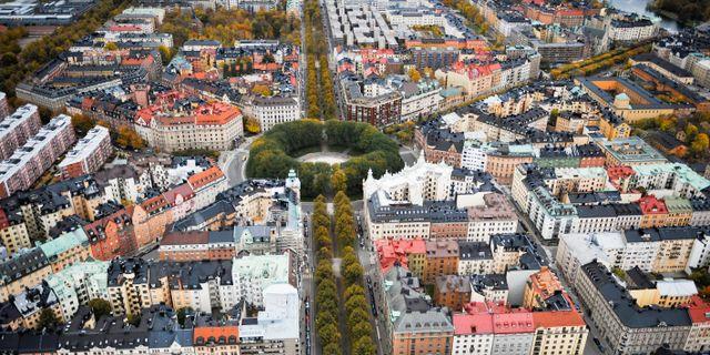 Flygbild över stadsdelen Östermalm i Stockholm. Bertil Ericson / TT / TT NYHETSBYRÅN