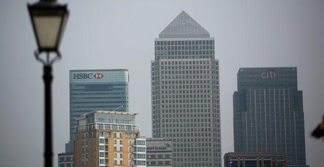 Canary Wharf i London. Matt Dunham / TT NYHETSBYRÅN