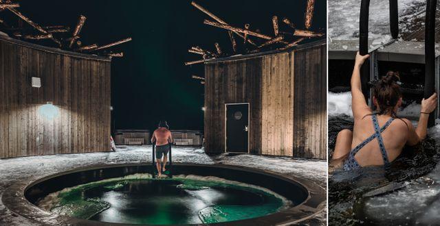 Huvudattraktionen i den flytande cirkulära huvudbyggnaden är kallbadet som är öppet året runt. Daniel Holmgren