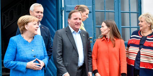 Tysklands förbundskansler Angela Merkel, Finlands statsminister Antti Rinne, Sveriges statsminister Stefan Löfven, Islands premiärminister Katrin Jakobsdottir och Norges statsminister Erna Solberg.  Naina Helén Jåma/TT / TT NYHETSBYRÅN