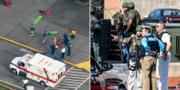 Räddningspersonal vid en skolskjuting vid en skola i delstaten Washington 2013 och poliser vid en skjutning vid ett universitetet i South Carolina 2015. TT