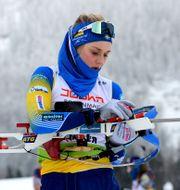 Stina Nilsson under IBU-loppet i torsdags. Deubert/IBU / TT NYHETSBYRÅN