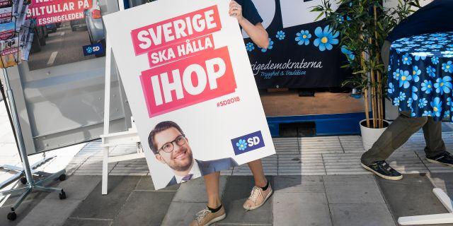 Arkivbild. Valstuga på Sergels torg.  Fredrik Sandberg/TT / TT NYHETSBYRÅN