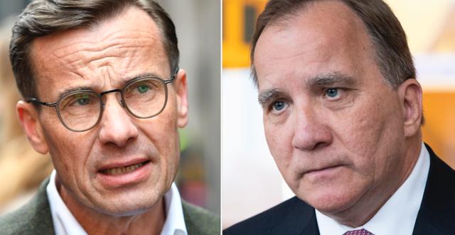 M-ledaren Ulf Kristersson och Stefan Löfven (S).  TT.