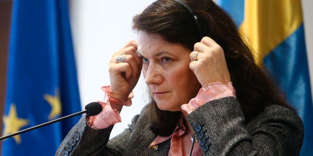 Ann Linde i Nordmakedonien idag. Boris Grdanoski / TT NYHETSBYRÅN
