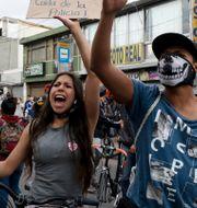 Demonstranter i Bogota Fernando Vergara / TT NYHETSBYRÅN